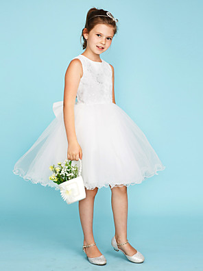 cheap Junior Bridesmaid Dresses-Ball Gown Crew Neck Knee Length Lace / Tulle Junior Bridesmaid Dress with Bow(s) / Wedding Party