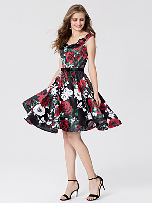 cheap Cocktail Dresses-Ball Gown Open Back Pattern Dress Cocktail Party Prom Dress Straps Sleeveless Knee Length Satin with Sash / Ribbon Bow(s) 2020