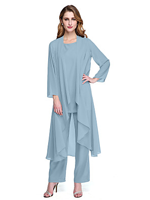 cheap Free Shipping-Pantsuit / Jumpsuit Bateau Neck Floor Length Chiffon Long Sleeve Elegant / Plus Size Mother of the Bride Dress with Sash / Ribbon / Crystals Mother's Day 2020