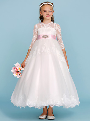 cheap Junior Bridesmaid Dresses-Ball Gown Crew Neck Ankle Length Lace / Tulle Junior Bridesmaid Dress with Sash / Ribbon / Bow(s) / Beading / Color Block / Wedding Party / Open Back / See Through