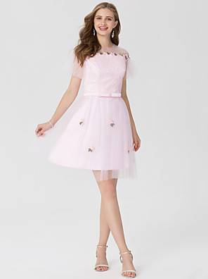 cheap Cocktail Dresses-Back To School A-Line Elegant Cocktail Party Dress Jewel Neck Short Sleeve Short / Mini Lace Satin Tulle with Sash / Ribbon Bow(s) Appliques 2020 Hoco Dress