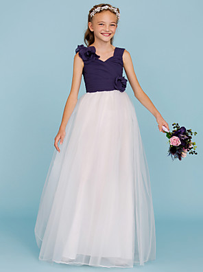 cheap Junior Bridesmaid Dresses-Princess / A-Line Straps Floor Length Chiffon / Tulle Junior Bridesmaid Dress with Criss Cross / Ruched / Flower / Color Block / Floral / Wedding Party