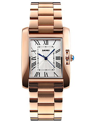 cheap Quartz Watches-SKMEI Women's Ladies Wrist Watch Gold Watch Square Watch Japanese Quartz Stainless Steel Silver / Rose Gold 30 m Water Resistant / Waterproof Cool Analog Luxury Fashion Elegant Minimalist - Silver