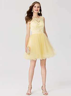 cheap Cocktail Dresses-Back To School Ball Gown Pastel Colors Holiday Homecoming Cocktail Party Dress Jewel Neck Sleeveless Short / Mini Lace Tulle with Pleats Appliques 2020 / Prom Hoco Dress