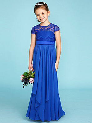 cheap Junior Bridesmaid Dresses-A-Line / Princess Crew Neck Floor Length Chiffon / Lace Junior Bridesmaid Dress with Bow(s) / Sashes / Ribbons / Wedding Party / See Through