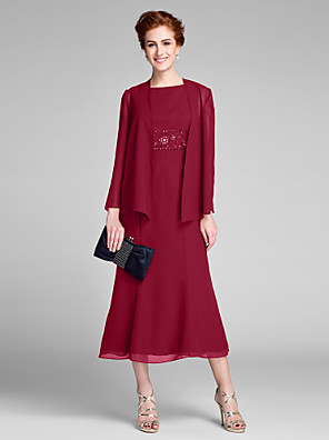 cheap Mother of the Bride Dresses-Mermaid / Trumpet Mother of the Bride Dress Convertible Dress Bateau Neck Tea Length Chiffon Long Sleeve with Beading 2020