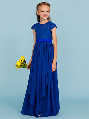 cheap Junior Bridesmaid Dresses-A-Line / Princess Crew Neck Floor Length Chiffon / Lace Junior Bridesmaid Dress with Bow(s) / Sash / Ribbon / Wedding Party
