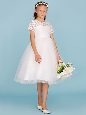 cheap Junior Bridesmaid Dresses-A-Line / Princess Crew Neck Knee Length Lace / Tulle Junior Bridesmaid Dress with Pleats / Wedding Party / See Through