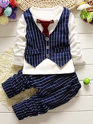 povoljno Kompletići za dječake-Dijete koje je tek prohodalo Dječaci Karirani uzorak Jednobojni Dugih rukava Regularna Normalne dužine Pamuk Komplet odjeće Crn