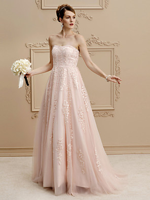 cheap Cocktail Dresses-A-Line Wedding Dresses Strapless Sweep / Brush Train Lace Tulle Strapless Romantic Plus Size Backless with Buttons Beading Appliques 2020