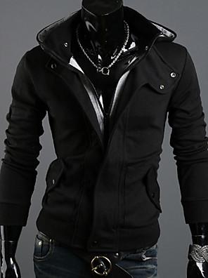 povoljno Muške košulje-Muškarci Veći konfekcijski brojevi Sport Hoodie Jednobojni Ogroman S kapuljačom Hoodies majica Dugih rukava Slim Obala Crn Sive boje / Jesen / Zima