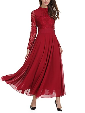 cheap Prom Dresses-Women's Loose Maxi long Dress - Long Sleeve Solid Colored Lace Spring Winter Stand Casual Daily Wine
