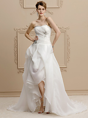cheap Wedding Dresses-A-Line Wedding Dresses Strapless Asymmetrical Organza Sleeveless Open Back with Pick Up Skirt Beading Appliques 2020