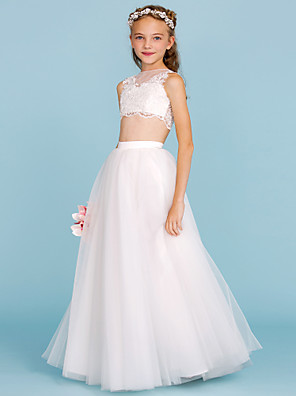 cheap Junior Bridesmaid Dresses-A-Line / Princess Bateau Neck Floor Length Lace / Tulle Junior Bridesmaid Dress with Appliques / Pearls / Wedding Party / Beautiful Back / See Through