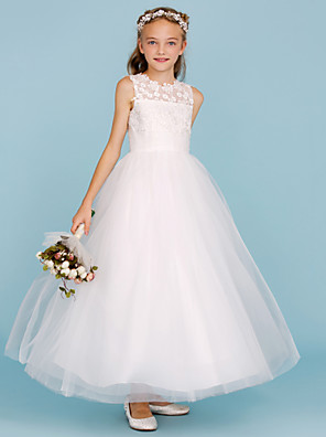 cheap Junior Bridesmaid Dresses-Princess / A-Line Crew Neck Ankle Length Lace / Tulle Junior Bridesmaid Dress with Sash / Ribbon / Wedding Party