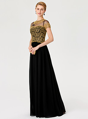 cheap Special Occasion Dresses-Princess A-Line Mother of the Bride Dress Color Block Elegant See Through Illusion Neck Floor Length Chiffon Metallic Lace Short Sleeve with Lace Pleats 2020 / Illusion Sleeve