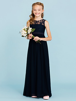 cheap Prom Dresses-A-Line / Princess Crew Neck Floor Length Chiffon / Lace Junior Bridesmaid Dress with Sash / Ribbon / Pleats / Wedding Party / Open Back / See Through
