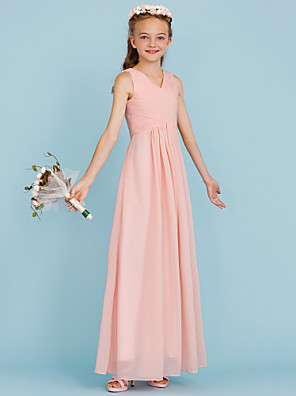 cheap Junior Bridesmaid Dresses-Sheath / Column V Neck Floor Length Chiffon Junior Bridesmaid Dress with Criss Cross / Pleats / Wedding Party / Open Back