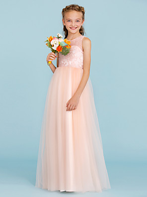 cheap Junior Bridesmaid Dresses-Princess / A-Line Crew Neck Floor Length Lace / Tulle Junior Bridesmaid Dress with Pleats / Wedding Party / See Through