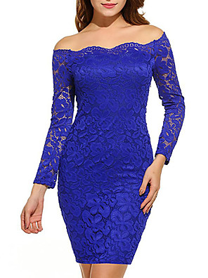 cheap Women's Dresses-Women's Mini Dusty Rose Bodycon Dress - Long Sleeve Solid Colored Lace Spring Fall Off Shoulder Sexy Party Going out Slim Off Shoulder Wine Black Purple Blushing Pink Green Royal Blue Navy Blue S M L