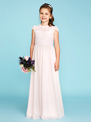 cheap Junior Bridesmaid Dresses-A-Line / Princess Crew Neck Floor Length Chiffon / Lace Junior Bridesmaid Dress with Buttons / Pleats / Wedding Party / See Through
