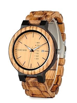 cheap Sport Watches-Men's Wrist Watch Quartz Charm Water Resistant / Waterproof Wood Brown Analog - Wood Black / Calendar / date / day / Chronograph