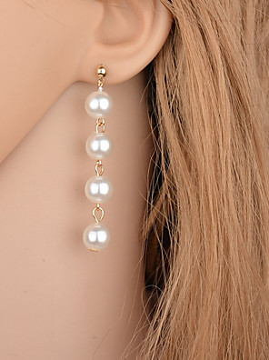 cheap Quartz Watches-Women's Drop Earrings Hanging Earrings Long Floating Drop Ladies Elegant Simple Style Fashion everyday Imitation Pearl Earrings Jewelry Gold / Silver For Party Casual