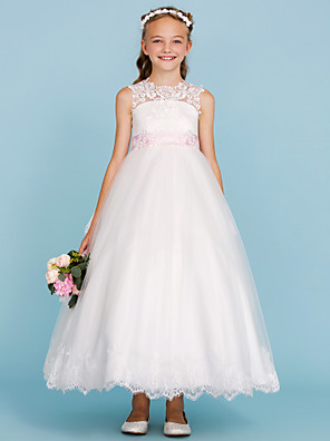 cheap Junior Bridesmaid Dresses-Ball Gown Crew Neck Ankle Length Lace / Tulle Junior Bridesmaid Dress with Sash / Ribbon / Bow(s) / Appliques / Color Block / Wedding Party