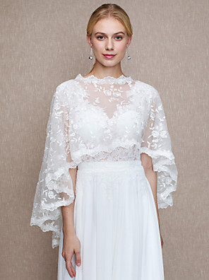 cheap Wedding Wraps-Lace Wedding Party / Evening Women's Wrap With Lace Capes