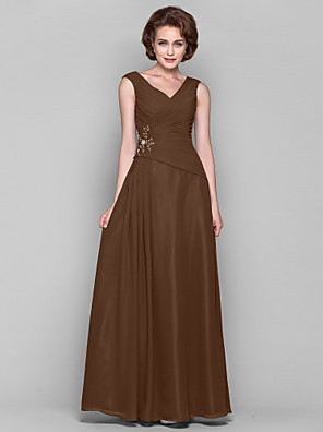 cheap Mother of the Bride Dresses-A-Line Mother of the Bride Dress Open Back V Neck Floor Length Chiffon Sleeveless with Criss Cross Beading Draping 2020 Mother of the groom dresses