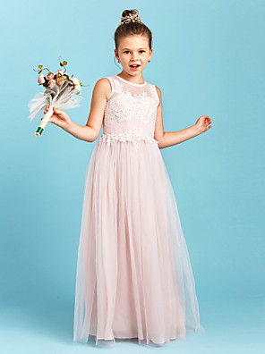 cheap Junior Bridesmaid Dresses-A-Line / Princess Jewel Neck Floor Length Tulle Junior Bridesmaid Dress with Appliques / Pleats / Wedding Party / See Through