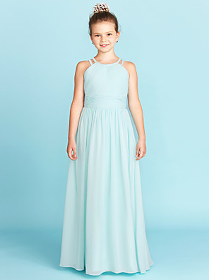cheap Junior Bridesmaid Dresses-A-Line / Princess Jewel Neck Floor Length Chiffon Junior Bridesmaid Dress with Ruched / Side-Draped / Wedding Party / Open Back