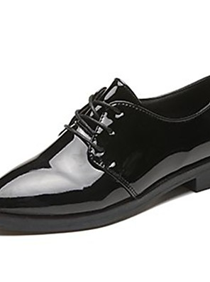 cheap Girls' Dresses-Women's Oxfords Low Heel Pointed Toe Lace-up Patent Leather Comfort Fall Black / Burgundy