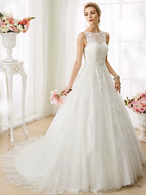cheap Wedding Dresses-Ball Gown Wedding Dresses Bateau Neck Court Train Beaded Lace Regular Straps See-Through Beautiful Back with Beading Appliques 2020