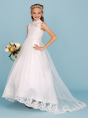 cheap Junior Bridesmaid Dresses-Ball Gown High Neck Sweep / Brush Train Lace / Satin Junior Bridesmaid Dress with Beading / Appliques / Wedding Party