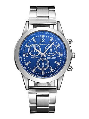 cheap Quartz Watches-Men's Sport Watch Aviation Watch Quartz Charm Water Resistant / Waterproof Stainless Steel Silver Analog - White Blue One Year Battery Life