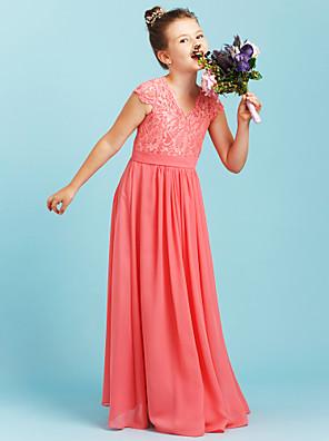 cheap Junior Bridesmaid Dresses-A-Line / Princess V Neck Floor Length Chiffon / Lace Junior Bridesmaid Dress with Sash / Ribbon / Pleats / Wedding Party