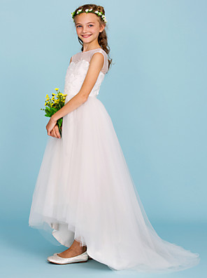 cheap Boys' Tops-Ball Gown Crew Neck Asymmetrical Tulle Junior Bridesmaid Dress with Beading / Wedding Party / Open Back