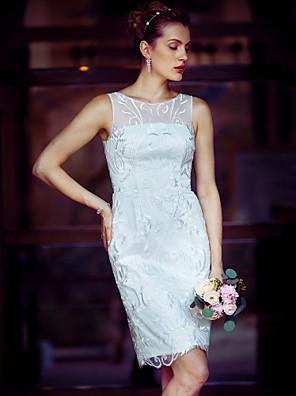 cheap Cocktail Dresses-Sheath / Column Wedding Dresses Bateau Neck Knee Length Metallic Lace Sleeveless Little White Dress See-Through with Lace 2020