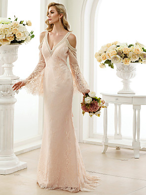 cheap Wedding Dresses-Sheath / Column Wedding Dresses Plunging Neck Sweep / Brush Train Sheer Lace Long Sleeve Wedding Dress in Color Open Back Floral Lace with Bow(s) Crystals 2020 / Poet Sleeve