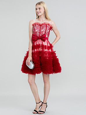 cheap Cocktail Dresses-Ball Gown Color Block Lace Up See Through Cocktail Party Dress Jewel Neck Sleeveless Short / Mini Lace Tulle with Sash / Ribbon Bow(s) Tiered 2020