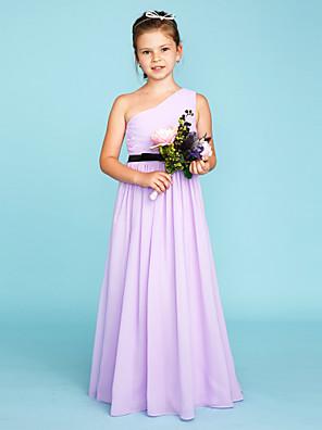 cheap Bridesmaid Dresses-Princess / A-Line One Shoulder Floor Length Chiffon Junior Bridesmaid Dress with Sash / Ribbon / Side Draping / Color Block / Wedding Party