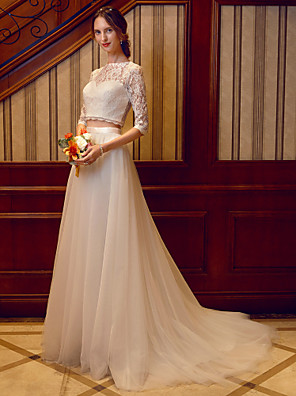 cheap Wedding Dresses-Two Piece Wedding Dresses Jewel Neck Court Train Tulle Over Lace Corded Lace Half Sleeve See-Through Illusion Sleeve with Sashes / Ribbons 2020