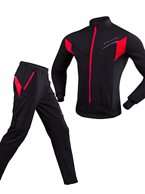 cheap Cocktail Dresses-Realtoo Men's Women's Long Sleeve Cycling Jacket with Pants Winter Fleece Bike Clothing Suit Windproof Fleece Lining Sports Solid Color Mountain Bike MTB Road Bike Cycling Clothing Apparel / Stretchy