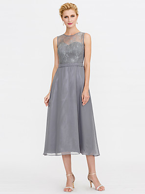 cheap Special Occasion Dresses-A-Line Mother of the Bride Dress Elegant Illusion Neck Tea Length Chiffon Corded Lace Sleeveless with Lace Pleats 2020