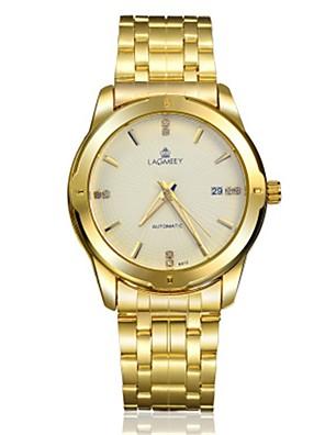 cheap Quartz Watches-Men's Fashion Watch Mechanical Watch Automatic self-winding Analog - White Yellow Blue / Stainless Steel