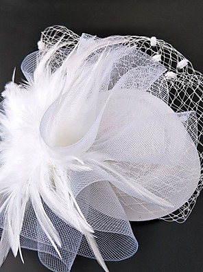 cheap Fascinators-Net Fascinators / Hats / Headwear with Floral 1pc Wedding / Special Occasion / Horse Race Headpiece