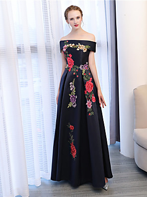cheap Prom Dresses-A-Line Floral Black Wedding Guest Formal Evening Dress Off Shoulder Sleeveless Floor Length Satin Satin Chiffon with Embroidery Appliques 2020