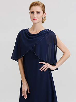 cheap Evening Dresses-Sleeveless Capelets Chiffon Wedding / Party / Evening Women's Wrap With Beading / Appliques