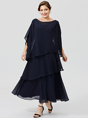 cheap Mother of the Bride Dresses-Ball Gown Cowl Neck Ankle Length / Tea Length Chiffon Short Sleeve Classic & Timeless / Elegant & Luxurious / Elegant Mother of the Bride Dress with Beading / Tiered Mother's Day 2020